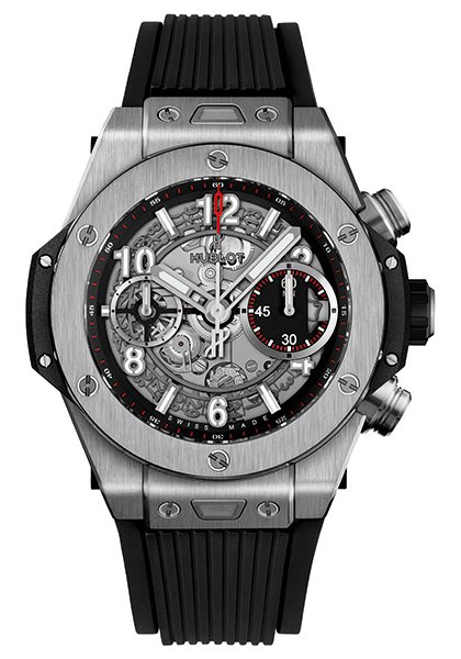 With the decoration of white scale and pointers which forming a strong visual contrast, this black strap replica Hublot Big Bang watch also presents the clear readability.