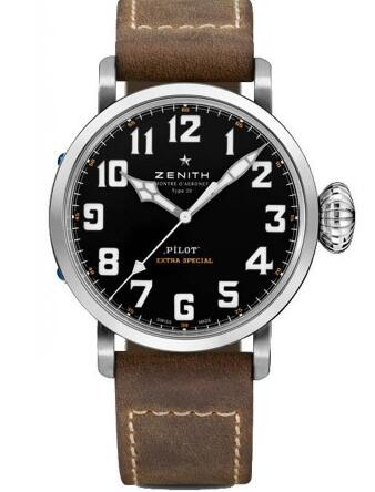 For the contrasting dial and brown leather strap, this replica Zenith watch also shows a vintage feeling.