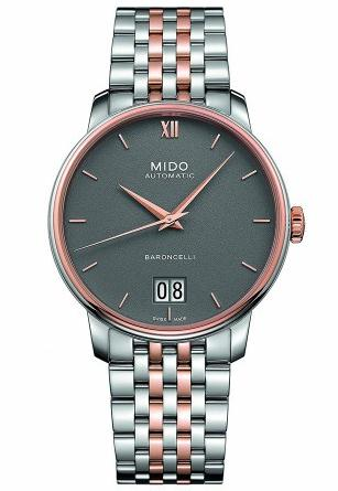 With the perfect combination of rose gold and deep grey, this fake Mido watch leaves people a deep impression.