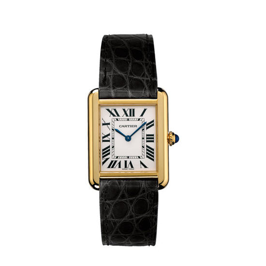 Golden cases add luxury for concise replica Cartier watches.