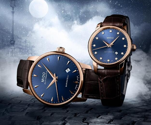 The Mido watches with blue dials look very elegant and charming.
