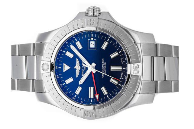Copy Breitling watches for sale are bright with blue and red colors.