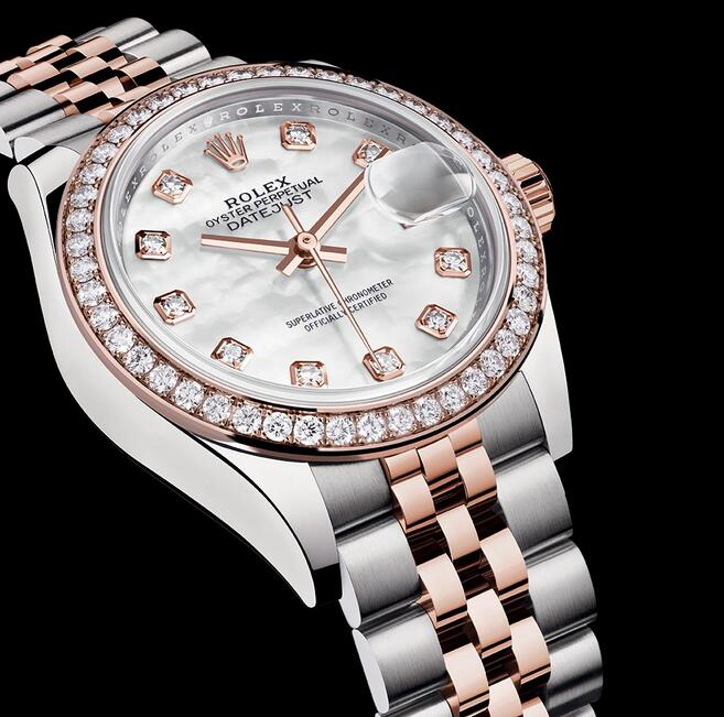Swiss made replica watches are showy with the diamond decoration.