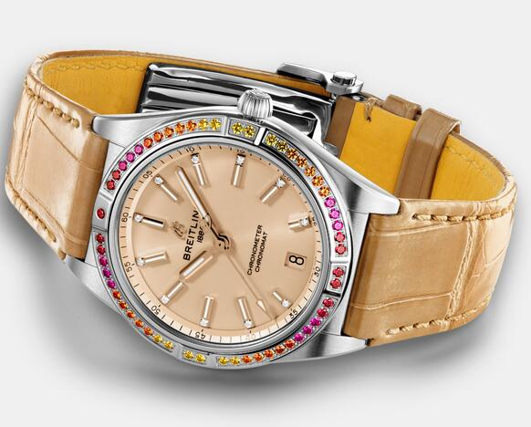 Swiss replica watches keep in the corresponding with beige dials and beige straps.