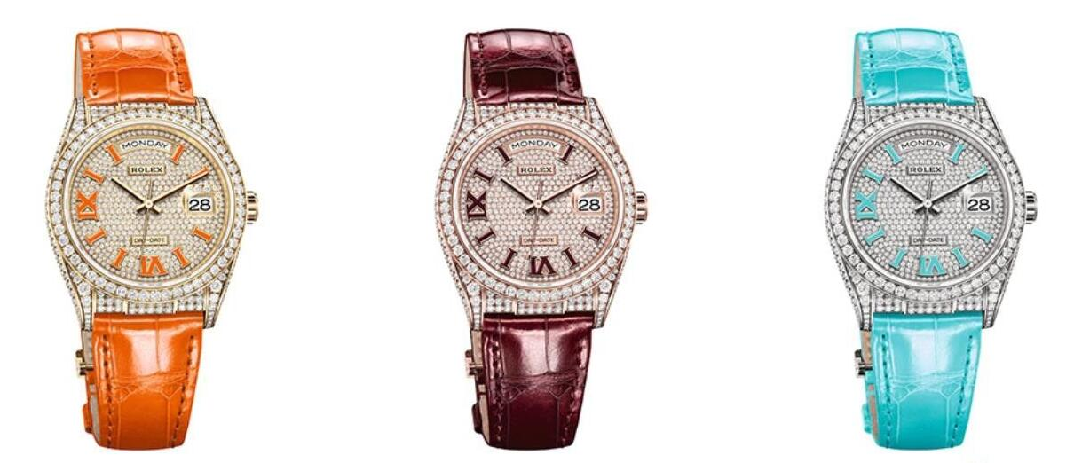 Swiss replication watches are available with three showy colors.