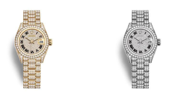 1:1 reproduction watches are fully decorated with diamonds.